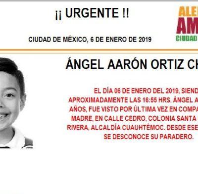 Alerta Amber: Ayuda a localizar a Ángel Aarón Ortiz Chávez