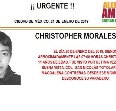 Alerta Amber: Ayuda a localizar a Christopher Morales Soto