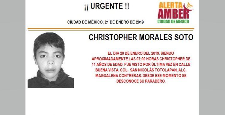 Alerta Amber para localizar a Christopher Morales