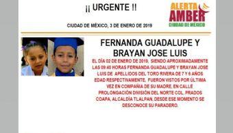 Alerta Amber: Fernanda Guadalupe y Brayan José Luis Del Toro