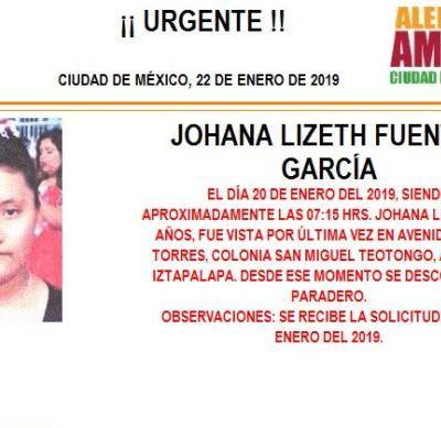 Alerta Amber: Ayuda a localizar a Johana Lizeth Fuentes García