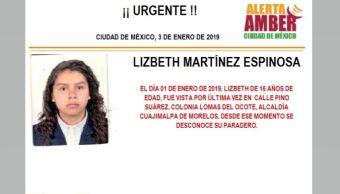 Alerta Amber para localizar a Lizbeth Martínez