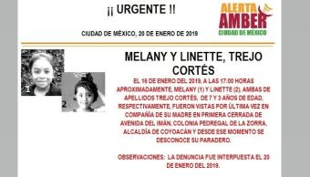 Alerta Amber para localizar a Melany y Linette Trejo