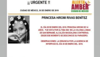 Foto: Alerta Amber para localizar a Princesa Hiromi Rivas Benitez 31 enero 2019