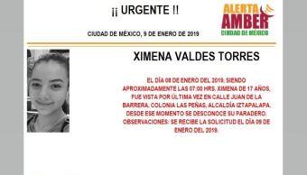 Alerta Amber para localizar a Ximena Valdés