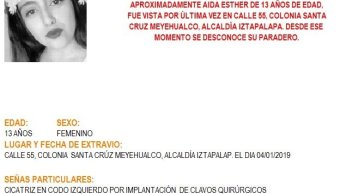 Alerta Amber: Ayuda a localizar a Aida Esther Sosa González