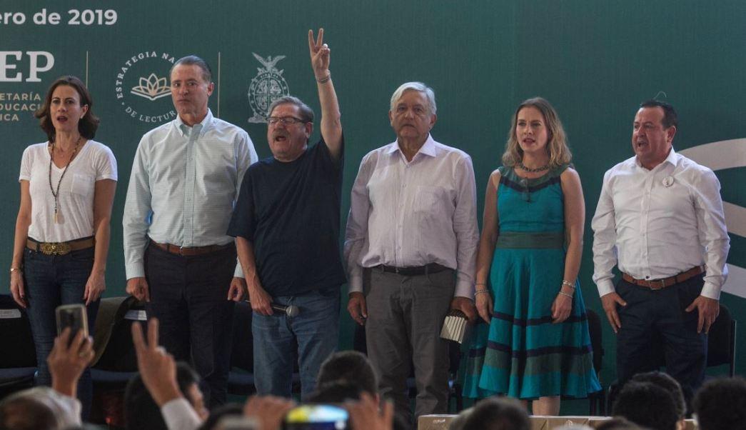 Foto: AMLO encabeza la presentación del programa nacional de lectura en Mocorito, Sinaloa el 27 de enero de 2019