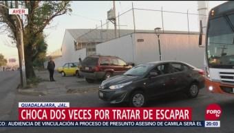 Choca dos veces por tratar de escapar en Guadalajara, Jalisco