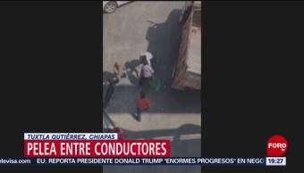 Foto: Conductores Pelean Durante Bloqueo Tuxtla Gutiérrez 31 de Enero 2019