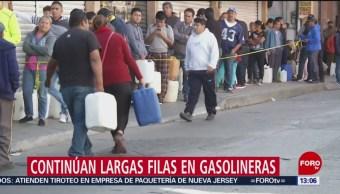 Continúan largas filas en gasolineras de Guanajuato