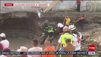 Derrumbe en obra en construcción en la alcaldía Gustavo A. Madero