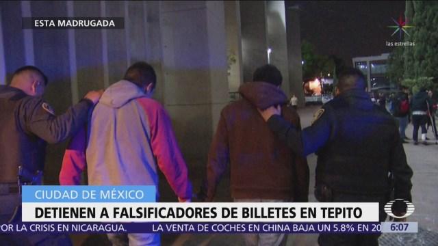 Detienen a dos falsificadores de billetes en Tepito