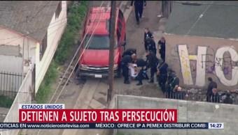 Detienen a sujeto tras persecución en Estados Unidos