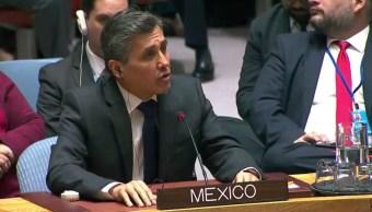 Foto: El embajador de México en la ONU, Juan José Gómez Camacho, respalda reducir tensiones en Venezuela, Nueva York, Estados Unidos, enero 26 de 2019 (Twitter: @MexOnu)