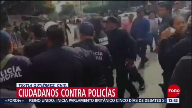 Policías de Tuxtla Gutiérrez evitan linchamiento de ladrón