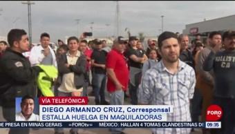 Foto, 26 enero 2019, En Matamoros 8 de 45 maquiladoras levantan huelga