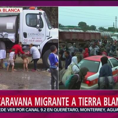 Llega una nueva caravana migrante a Tierra Blanca, Veracruz