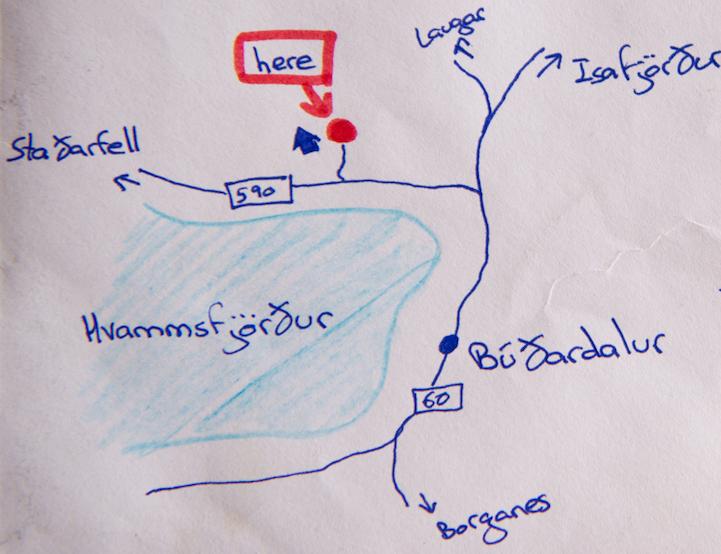 Este es el mapa que está dibujado para ayudar al cartero a hallar la granja (Skessuhorn)
