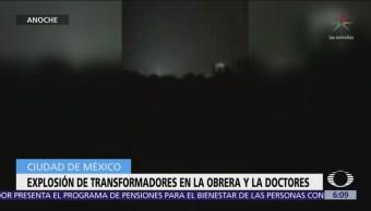 Explosión de transformadores ilumina la colonia Doctores, en CDMX