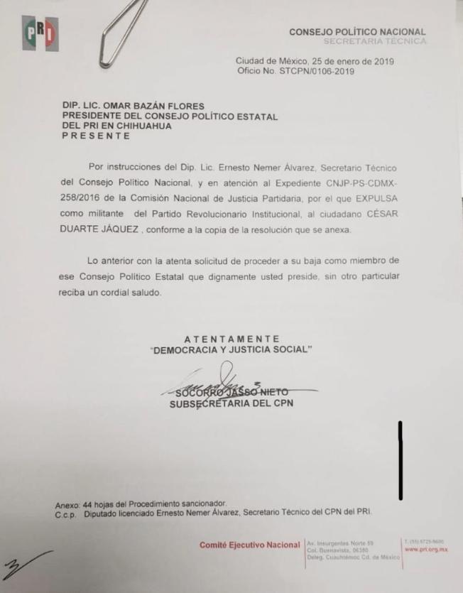 César Duarte, expulsión, oficio, Twitter, 31, enero, 2019