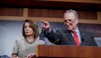 Foto: Los líderes demócratas Nancy Pelosi y Chuck Schumer habla sobre el cierre de Gobierno el 25 de enero del 2019