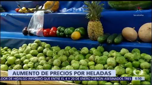 Heladas y desabasto de gasolina afecta precios de alimentos
