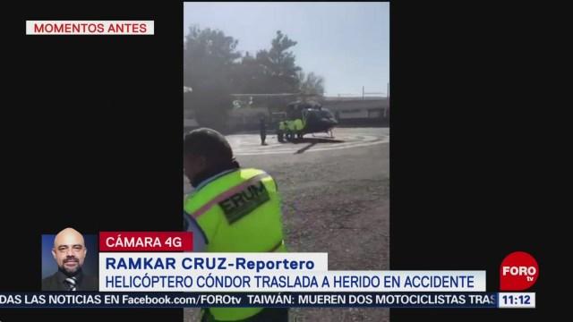 Helicóptero traslada a policías heridos en accidente en CDMX