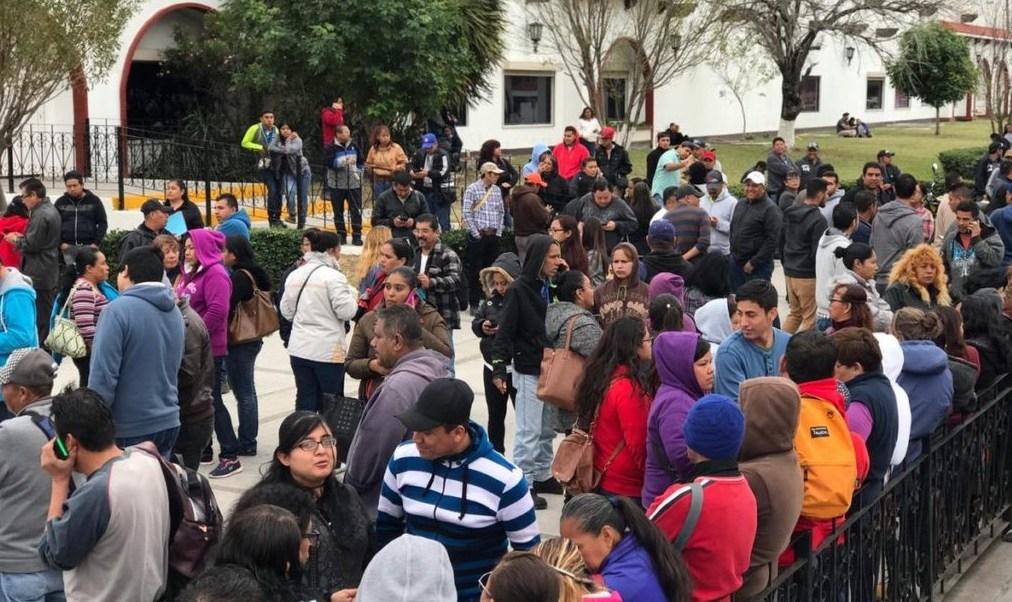 Foto: Trabajadores de maquiladoras que están en huelga en Matamoros, 28 de enero de 2019, (Twitter: @CiudadTV212)