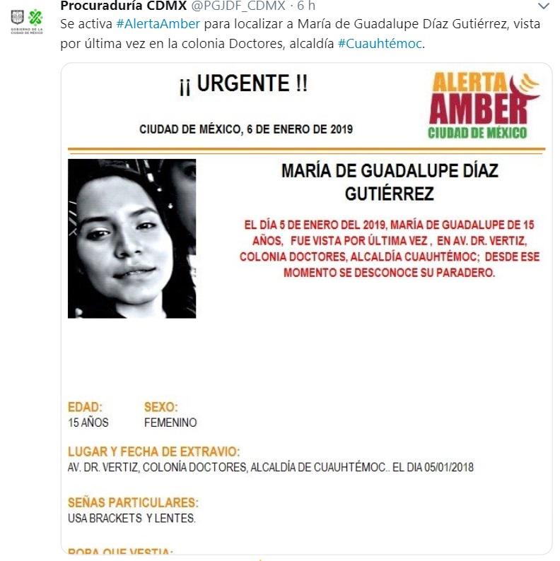 Alerta Amber: Ayuda a María Guadalupe Díaz Gutiérrez