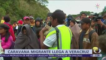 La nueva caravana migrante llega a Sayula, Veracruz