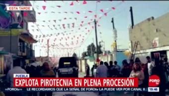Explosión De Pirotecnia Deja 5 Lesionados En Puebla, Explosión De Pirotecnia, 5 Lesionados, Puebla, Procesión En Ciudad Serdán