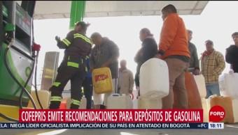 Cofepris emite recomendaciones para depósitos de gasolina