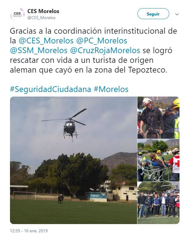 Localizan a alemán tras caer en cañada de Tepoztlán, Morelos