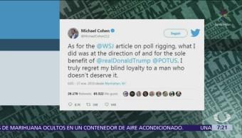 Michael Cohen pagó para manipular encuestas a favor de Trump