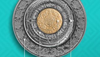 Foto estas monedas mexicanas forman el Calendario Azteca 30 enero 2019