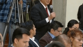 Foto: Periodista Nino Canún durante conferencia de AMLO, 28 enero 2019, Palacio Nacional, CDMX