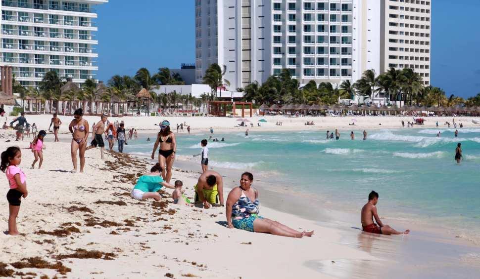Nuevo arribo de sargazo en Cancún
