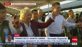 Olga Sánchez Cordero se reúne con migrantes en frontera sur