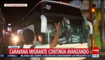 Parten autobuses con migrantes de Chiapas rumbo a Oaxaca