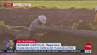 Pemex atiende fuga en toma clandestina cerca de Tlahuelilpan