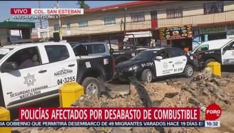 Policías, afectados por desabasto de gasolina en Naucalpan, Edomex