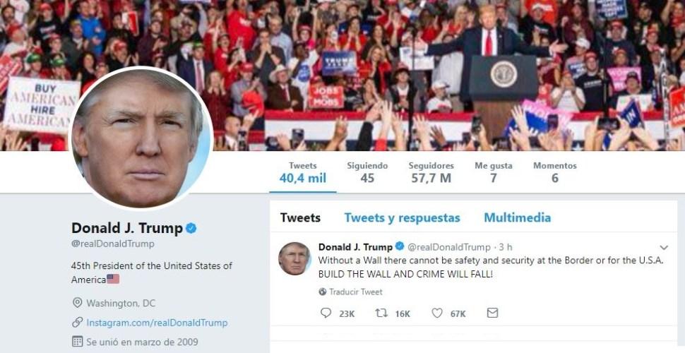 Imagen de los tuits del presidente Donald Trump, 24 enero 2019
