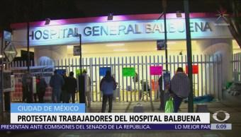 Protestan trabajadores del Hospital Balbuena en CDMX