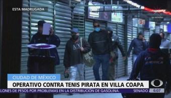 Realizan operativo para decomisar tenis pirata en bazar de Pericoapa