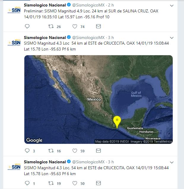 Sismo de 4.7 en Oaxaca, no se reportan daños materiales