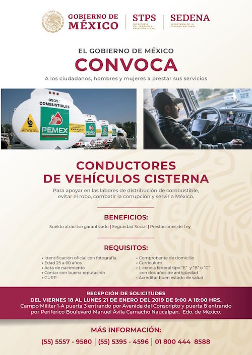 Requisitos Chofer Pipas Pemex Conductor Convocatoria