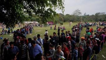 caravana migrante se detiene descansar en tierra blanca, veracruz