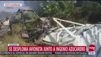 Se desploma avioneta a un costado de ingenio azucarero en Chiapas