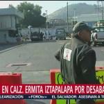 Se registra bloqueo en Ermita Iztapalapa por desabasto de gasolina