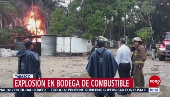 Se registra explosión en bodega ilegal de combustible en Tabasco